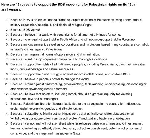 15 Reasons to Support BDS