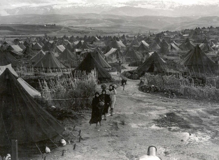 Daily life in tents for 6,000 Palestinian residents of Nahr Al-Barid Refugee Camp in Tarablus, Lebanon, 1952. Today, the population of the camp is more than 40,000.