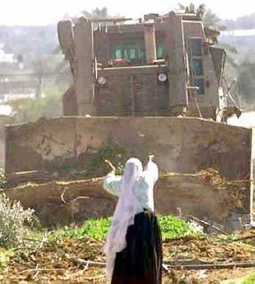 Palestinian woman facing tractor