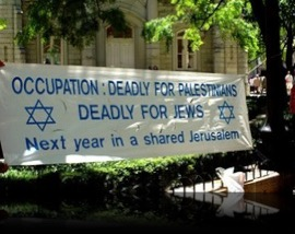 Banner ― The Israeli Occupation: Deadly for Paslestinians, Deadly for Jews
